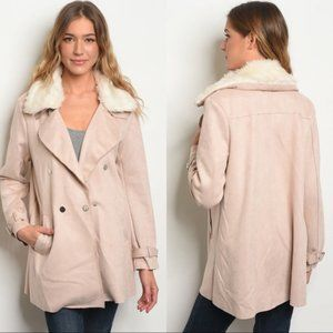 NWT HYFVE Faux Suede Blush Pink Short Trench Coat